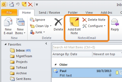 Notes4Email 1.1 Screen shot