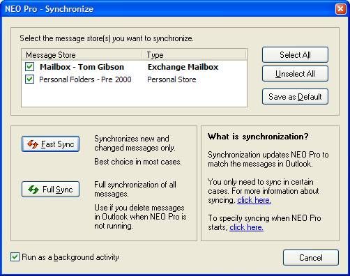 NEO User Guide - Synchronizing with Outlook